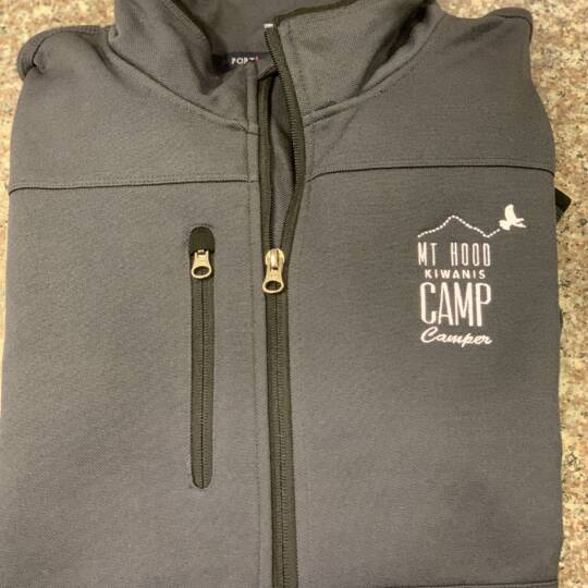 "Kiwanis_Men's Grey Camp Jacket w embroidered ""Camper"""